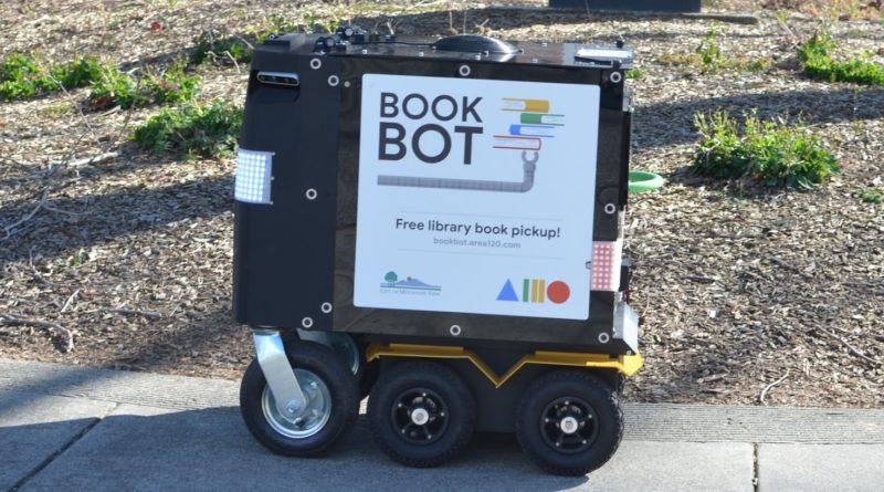 BookBot Library Robot Delivery Mountain View California - YellRobot