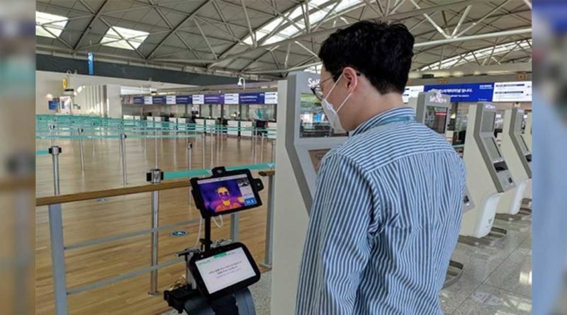Temperature Taking Robots Incheon Airport South Korea -YellRobot
